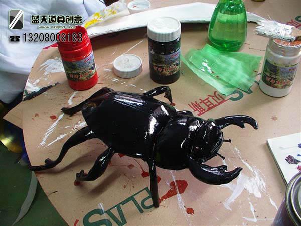 名称:道具甲壳虫.制作材料:pvc.使用领域:送小孩的.制作日期:2010.