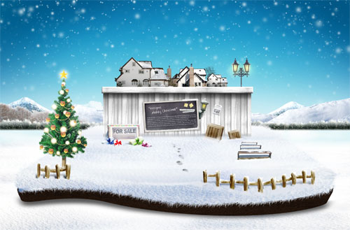 清幽宁静的圣诞迷人雪景