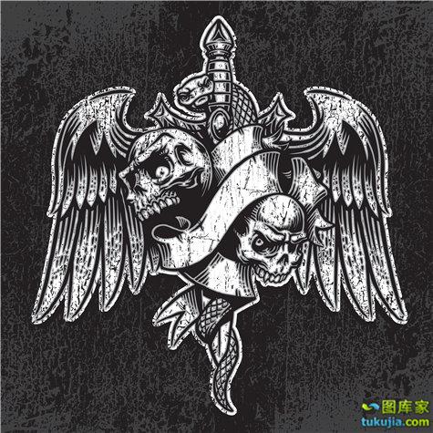 骷髅LOGO 骷髅图标 摇滚图标 摇滚LOGO 矢量70