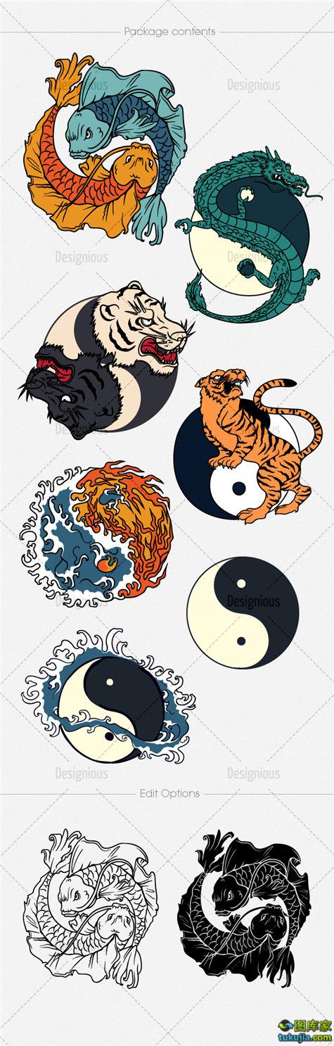 日式图案 日式卡通 日式纹身 纹身图案 日式图腾 矢量72