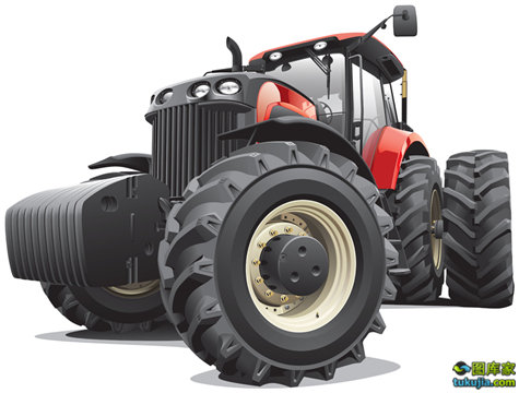 red tractor with large wheels