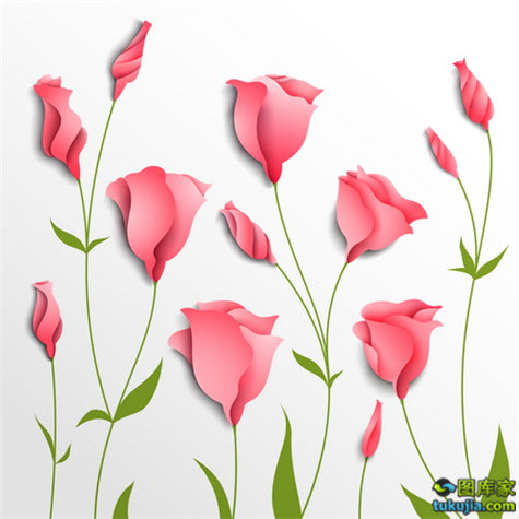 鲜花背景 花朵背景 剪纸 纸艺 折纸 鲜花花朵 矢量90