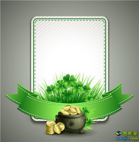 爱尔兰节日 帕特里克节 绿帽子 绿花瓣 矢量226