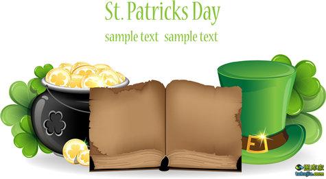爱尔兰节日 帕特里克节 绿帽子 绿花瓣 矢量227