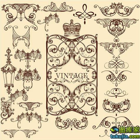 欧式图标 花纹图标 花纹图标 复古图标 怀旧花纹 矢量315