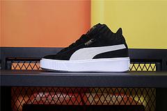 366717-01  Puma 彪马 Basket Platform Velour Suede 蕾哈娜中帮二代厚底松糕鞋 女子休闲板鞋 黑白 女鞋35.5-40