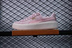 真标 顶级猪八 Puma17年新款厚底松糕鞋休闲板鞋粉色米白365821-01-02