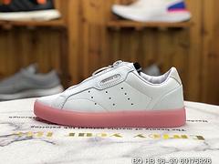 公司级Adidas阿迪达斯三叶草 女 杨幂同款果冻休闲板鞋懒人鞋拉链EF0776白粉色36 36.5 37 38 38.5 39