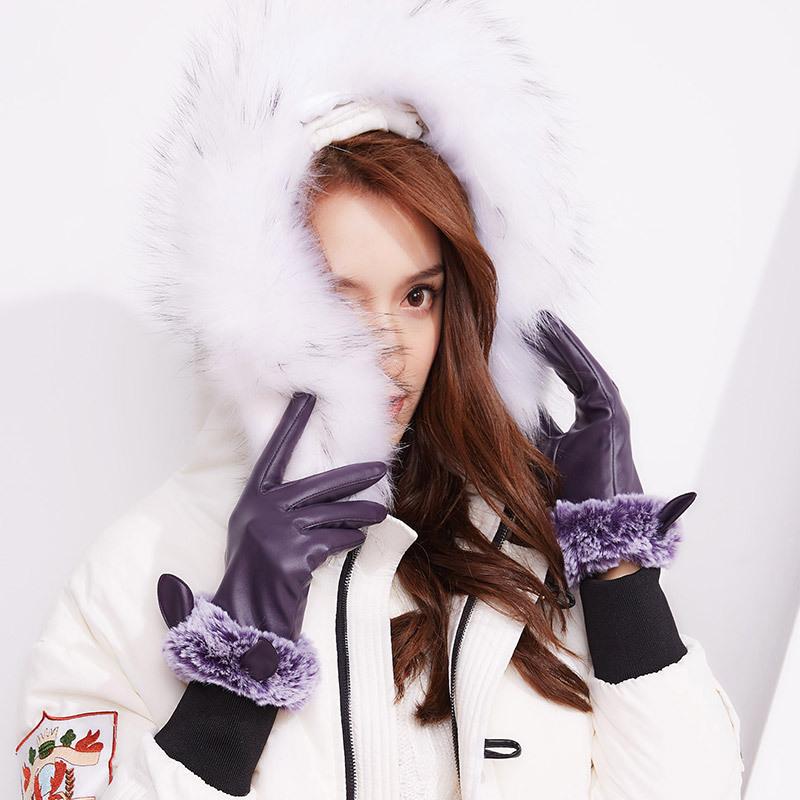Фритюрница MILE Зимние перчатки из ПУ-кожи с мехом (Фото 5)