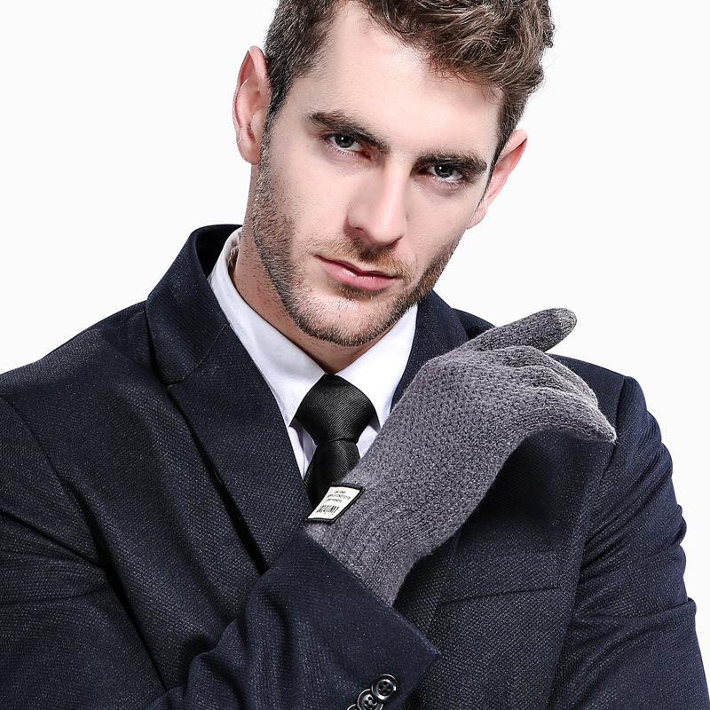 Фритюрница MILE Мужские зимние вязаные перчатки для сенсора (Фото 5)