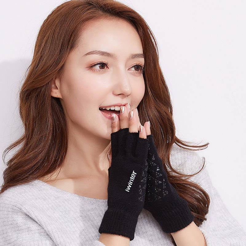 Фритюрница MILE Женские шерстяные перчатки без пальцев осень-зима (Фото 4)