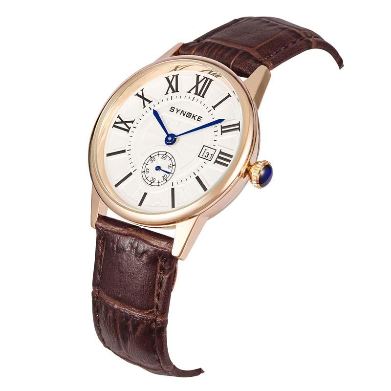 Фритюрница MILE Мужские кварцевые наручные часы с кожаным ремешоком (Фото 4)