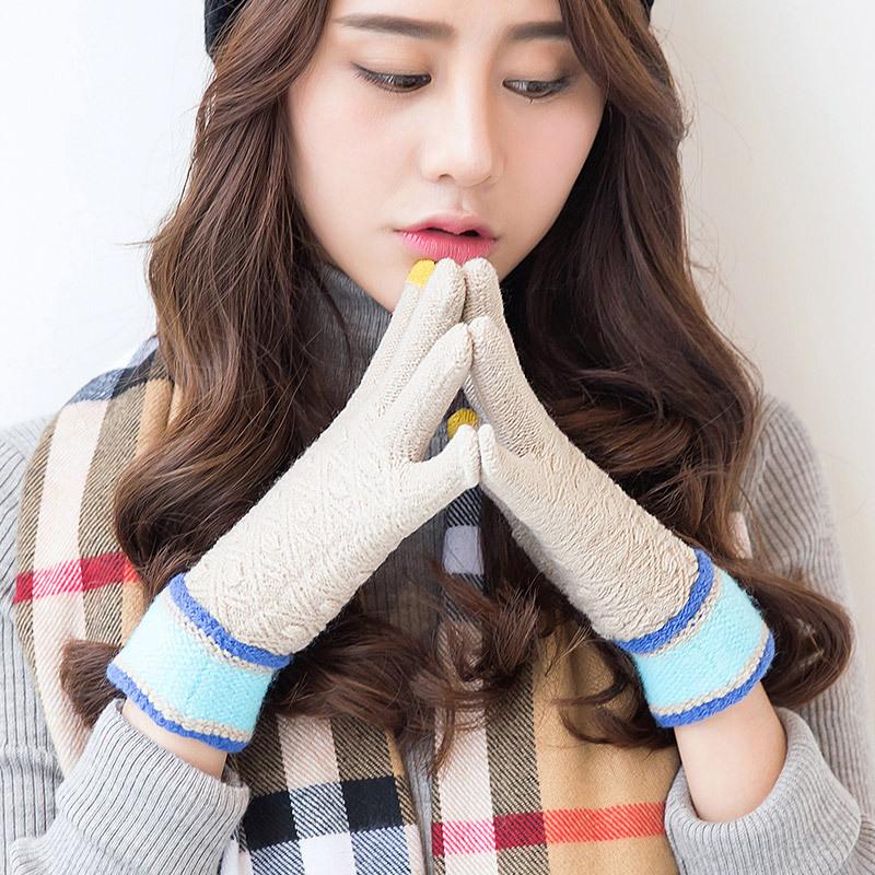 Фритюрница MILE Женские зимние вязаные перчатки для сенсора (Фото 5)
