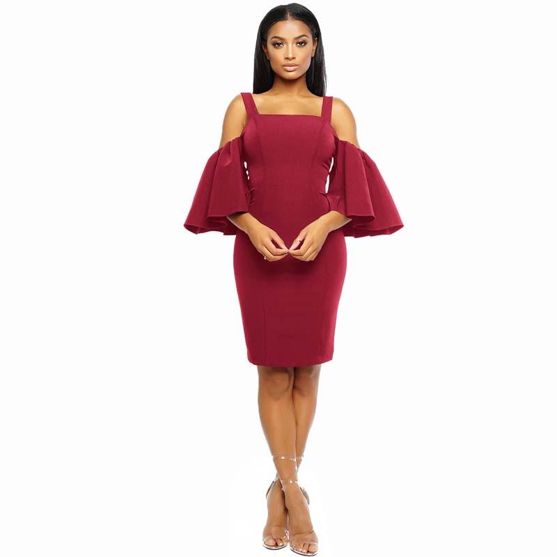 Фритюрница MILE Женское платье с рукавом 3/4 и открытыми плечами (Фото 4)