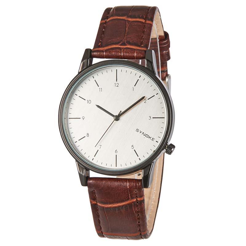 Кварцевые наручные часы с кожаным ремешком