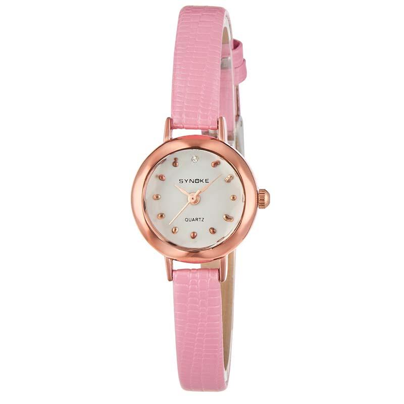 Женские кварцевые наручные часы с кожаным ремешком