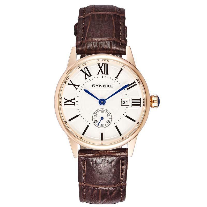 Фритюрница MILE Мужские кварцевые наручные часы с кожаным ремешоком (Фото 2)