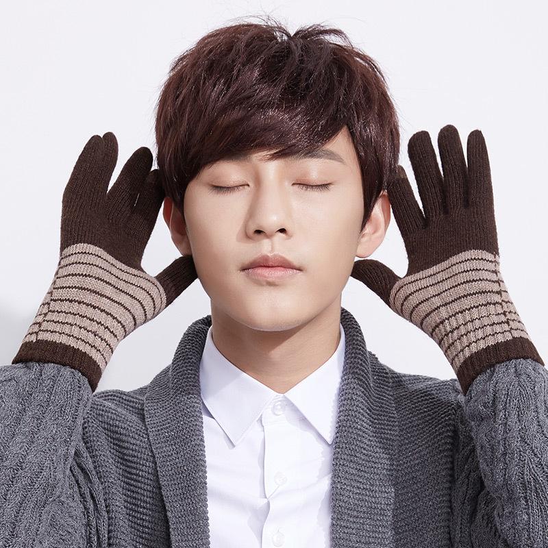 MILE Мужские вязаные перчатки для сенсора зима-осень