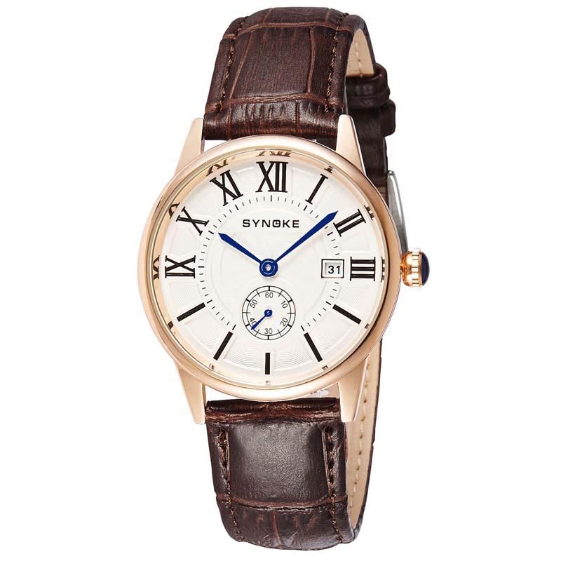 MILE Мужские кварцевые наручные часы с кожаным ремешоком