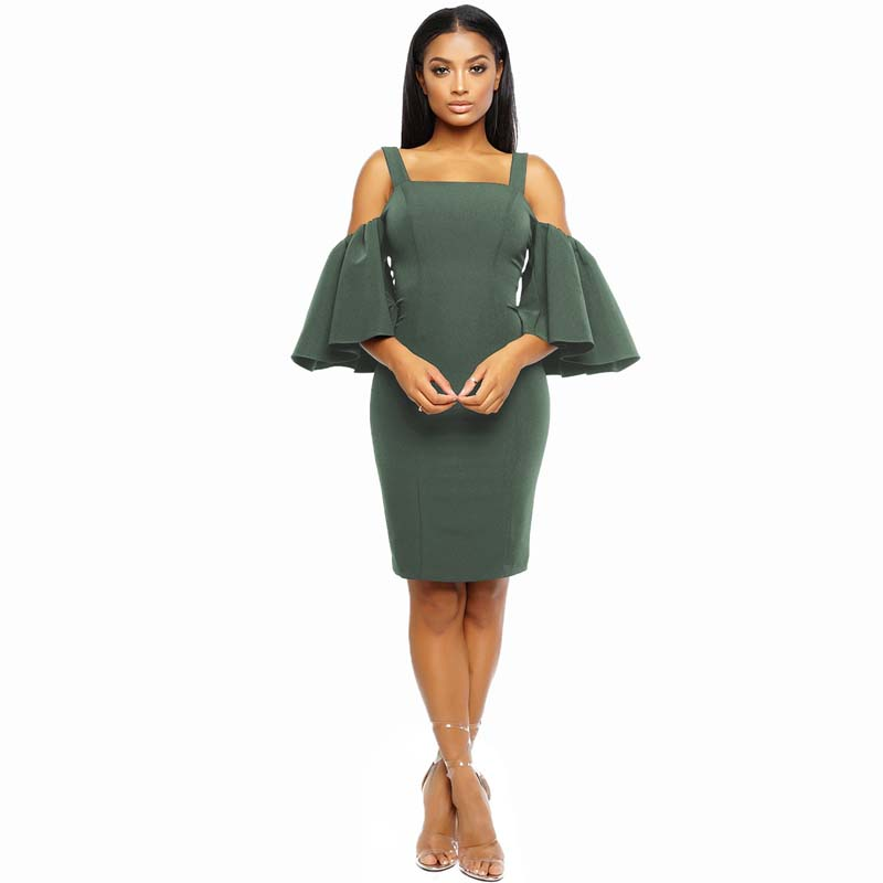 Фритюрница MILE Женское платье с рукавом 3/4 и открытыми плечами (Фото 1)