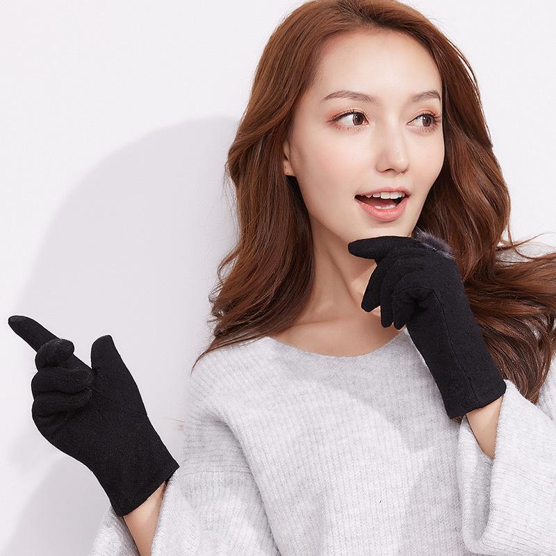MILE Женские зимние перчатки для сенсора из меха кролика