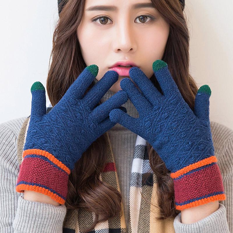 MILE Женские зимние вязаные перчатки для сенсора