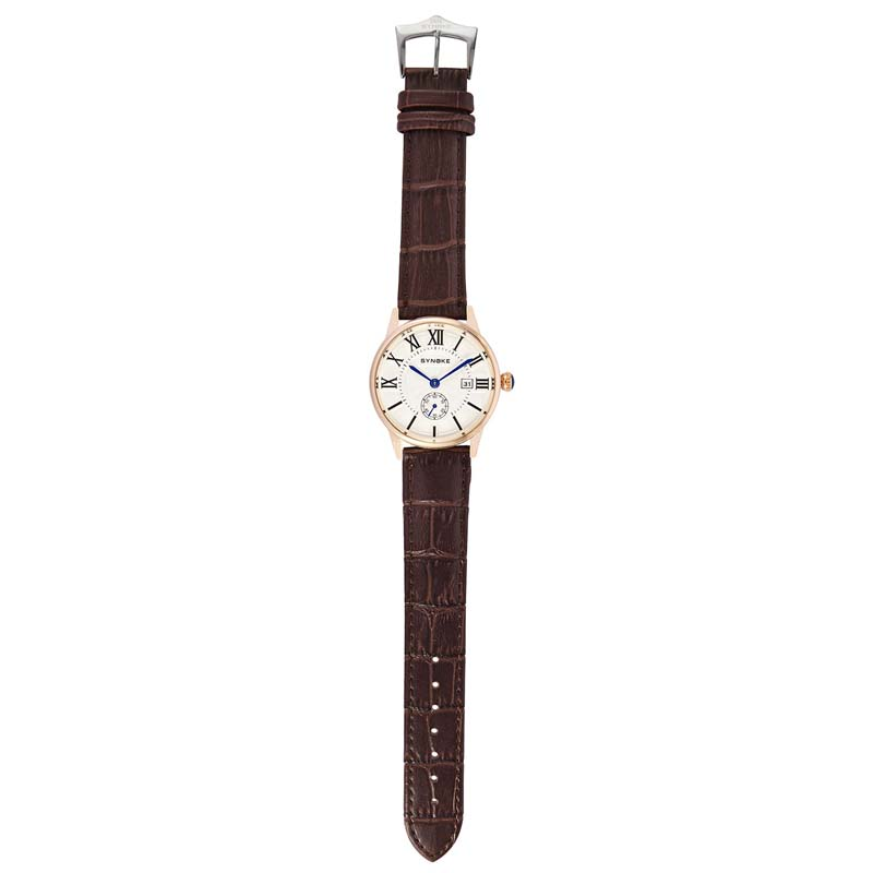 Фритюрница MILE Мужские кварцевые наручные часы с кожаным ремешоком (Фото 5)