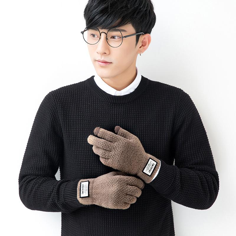 Фритюрница MILE Мужские зимние вязаные перчатки для сенсора (Фото 2)