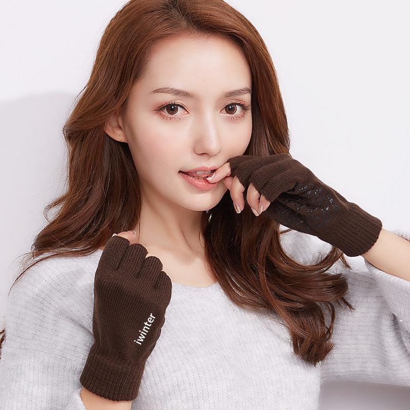 MILE Женские шерстяные перчатки без пальцев осень-зима