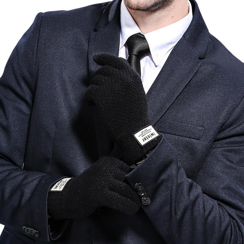 Фритюрница MILE Мужские зимние вязаные перчатки для сенсора (Фото 4)