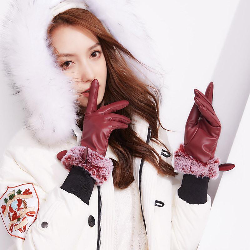 Фритюрница MILE Зимние перчатки из ПУ-кожи с мехом (Фото 4)