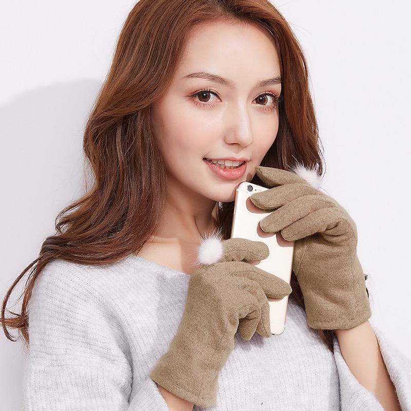 Фритюрница MILE Женские зимние перчатки для сенсора из меха кролика (Фото 4)