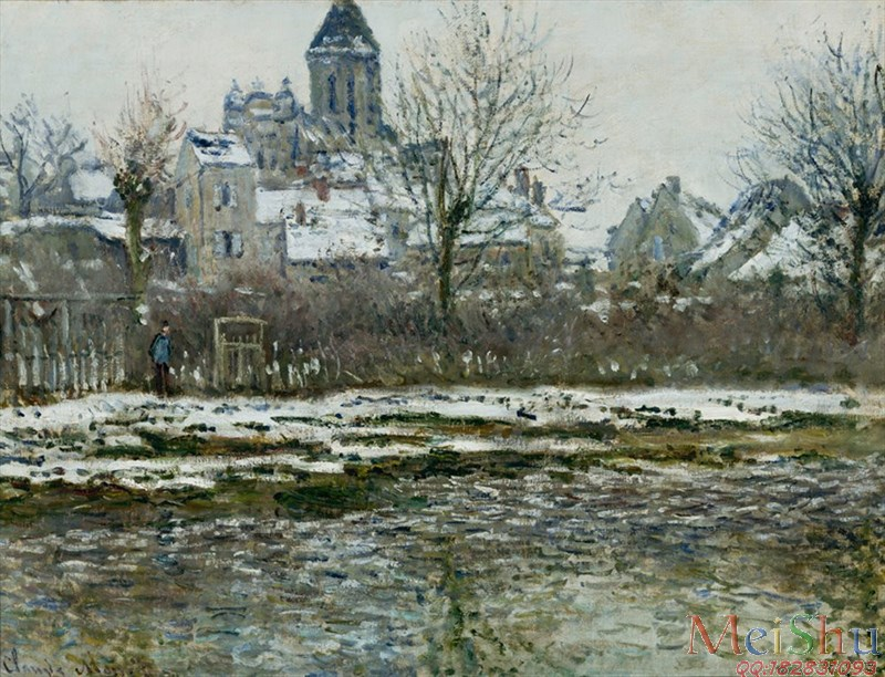 ����ӡ����YH4127612ӡ�����ͻ�ͼƬ�羰Claude Monet - The Church at V��theuil, Snow (1878-1879)-27M-3530X2700