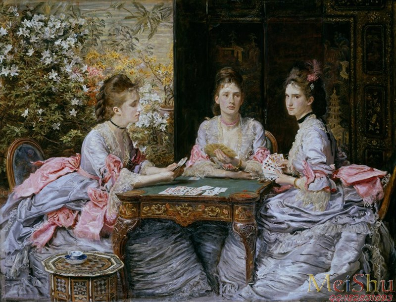 【印刷级】YH4130324油画古典宫廷人物图片John_Everett_Millais_-_Hearts_are_Trumps_-_Google_Art_Project-85M-6264X4775