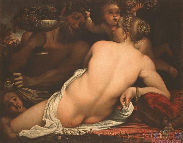 【超顶级】YH4130667油画人体裸体人物图片安尼巴莱·卡拉契-0068129金星,萨堤尔和爱神-H-688M-15148X11870