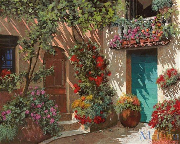 【印刷级】YH51110017油画现代风景图片Fiori In Cortile-54M-4887X3922
