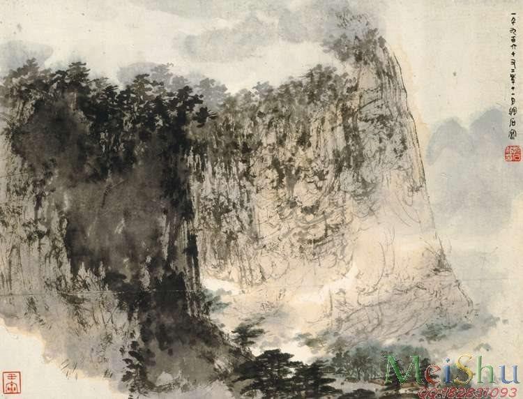 JXD5241339近现代国画傅抱石-山水-38x50山水风景图片-408M-11679X8905