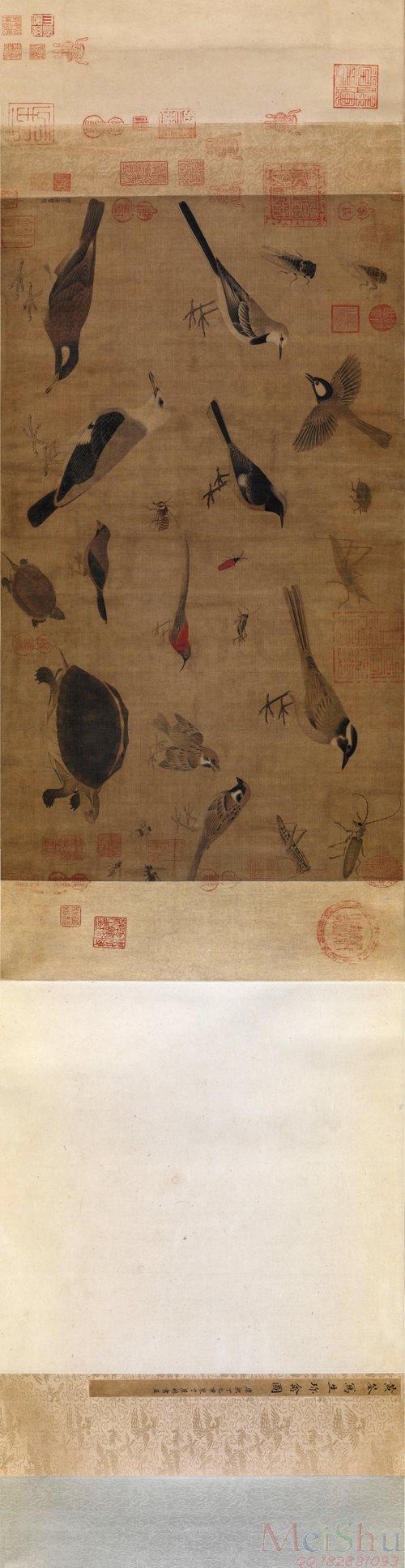 【超顶级】GH7280114古画动物五代 后蜀 黄筌《写生珍禽图》卷北京故宫博物院镜片图片-601M-28530X7369