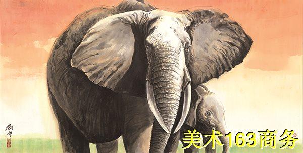 【超顶级】JXD12120522-动物横式-国画刘中大象耳朵高清晰高质量下载印刷喷绘图片-289M-15939X8056