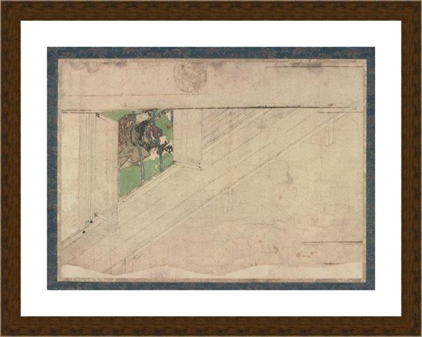 【印刷级】RBH9086024-日本古画-小品-狭衣物语画卷断简之一人物高清图片-93M-6632X4926