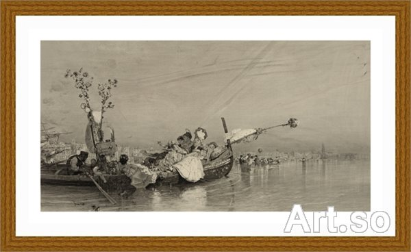【超顶级】SM9196801-名作底稿-海面小船只贵族妇女人船夫高清图片-128M-9306X4831