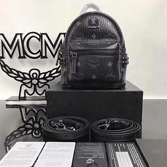 MCM female men's bag backpack new diamond square nails side nails