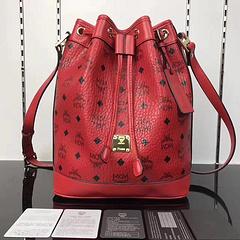MCM handbags bucket bag drawstring design