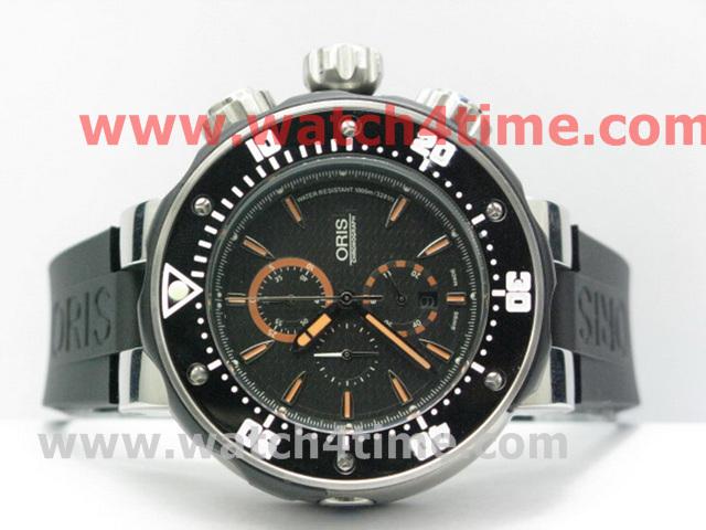 1高仿 豪利时 Oris 黑色碳纤维表面 橙色指针 男士腕表