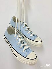 正确聚氨硅酯蓝PU中底匡威Converse1970S三星标低邦女款鞋帆布鞋天蓝色低邦167701C尺码3536365373753839395