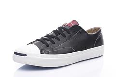 Converse匡威2017新款JackPurcell复古款低帮软木塞鞋垫头层真标内外标可扫描皮质开口笑151499黑色出货3644