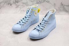 匡威ConverseAllStar高帮新款白色金标帆布鞋真标蓝底颜色淡蓝尺码3544365375395415425