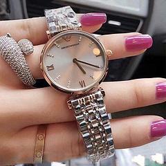 Armani阿玛尼满天星防水钢带手表女镶钻石英手表优雅石英表AR1840