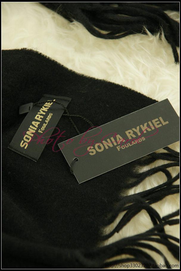 法国SONIARYKIEL顶级纯羊绒披肩,奢华感受 黑色暗条纹,特价