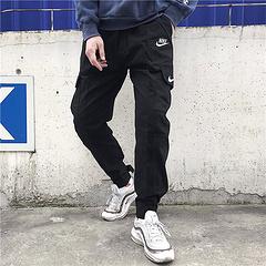 NIKE/耐克春新脚口绑带工装裤。情侣款男女重工工装裤!